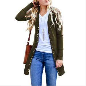 Army Green Long Lean Cardigan